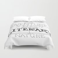 literary Duvet Covers featuring Literary Adventures by Drop and Give Me Nerdy