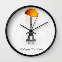 paris Wall Clocks featuring Paris by Mehdi Elkorchi