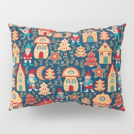 Fairy gnomes and magic houses.  Christmas trees, months and stars. Seamless Pattern in folk style. Pillow Sham