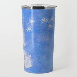flying dandelion watercolor painting Travel Mug