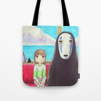 spirited away Tote Bags featuring Spirited Away by Janice Wong