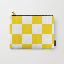 Large Checkered - White and Gold Yellow Carry-All Pouch