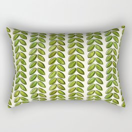 Summer Graphic Organic Painted Leaves Unique Different Green Olive Hand Drawn Rectangular Pillow