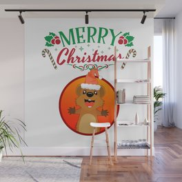 Merry Christmas Happy Quokka with Hat Kangaroo Wall Mural