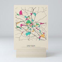 Colorful City Maps: Dresden, Germany Mini Art Print