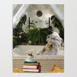 Self-Care Koala Bath Reading Books With Coffee Poster