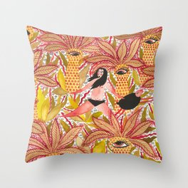 Expulsion from Paradise - with sheep Throw Pillow