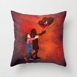 Little girl catch a balloon Throw Pillow