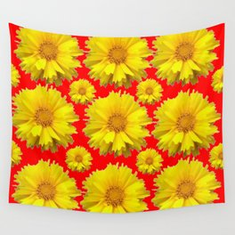 "YELLOW COREOPSIS ""TICK SEED"" FLOWERS RED PATTERN Wall Tapestry"