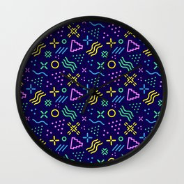Retro 80s Shapes Pattern Wall Clock