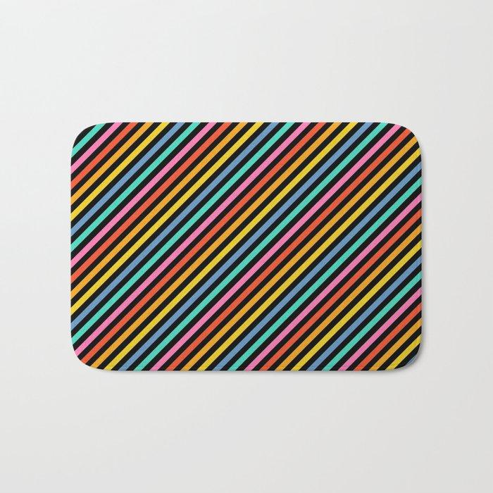 Diagonal Lines on Black Bath Mat