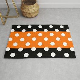 XX Large White Polka Dots on Orange and Black Stripes Rug