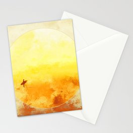 Golden Sun Surf Abstract Art Stationery Cards