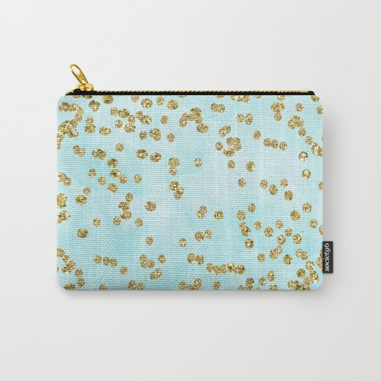 Sparkling gold glitter confetti on aqua ocean blue watercolor background-Luxury pattern on #Society6 Carry-All Pouch