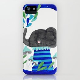 elephant with raindrops in blue watercolor illustration iPhone Case