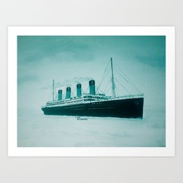 Titanic leaving Belfast 1912. By Joan Smart. Art Print