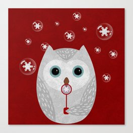 Christmas Owl Red Marble Canvas Print