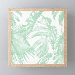 Light Green Tropical Palm Leaves Print Framed Mini Art Print