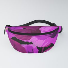 Bright Pink and Red Poppies On A Black Background Autumn Mood Fanny Pack