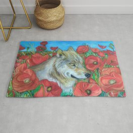 Wolf and Red Poppies Rug