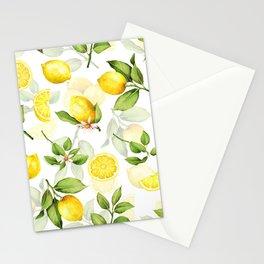 mediterranean summer lemon branches on white Stationery Cards