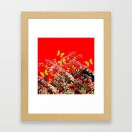 RED GARDEN ART OF YELLOW BUTTERFLIES & LACEY FLOWERS Framed Art Print