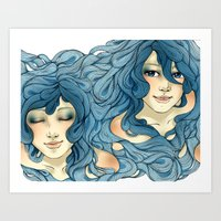 aqua Art Prints featuring Aqua by saravidigal