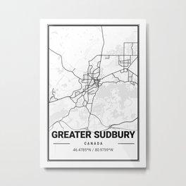 Greater Sudbury Light City Map Metal Print