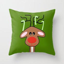 Christmas Reindeer Green Throw Pillow
