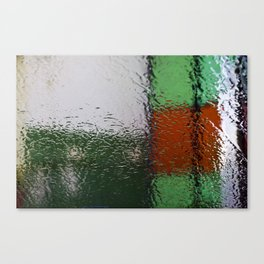 Through the window: Green, red, white colors abstract Canvas Print