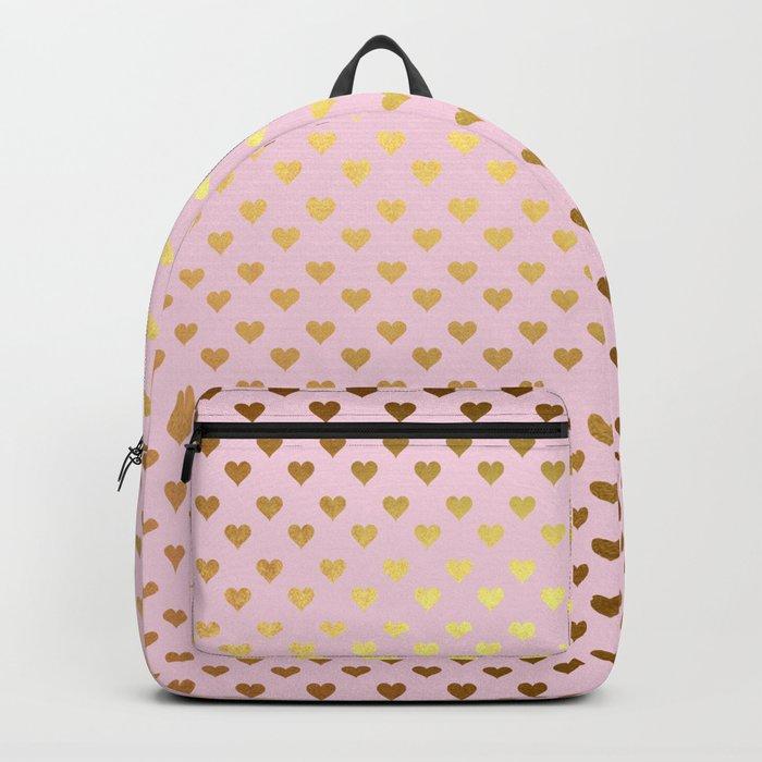 Princesslike- pink and gold elegant heart ornament pattern Backpack