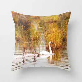 A Pen and her Cygnets Throw Pillow