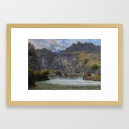 Kiaerskou, Frederik Christian Jakobsen (1805 - Kopenhagen – 1891) · Wasserfall in den Alpen bei Inns Framed Art Print