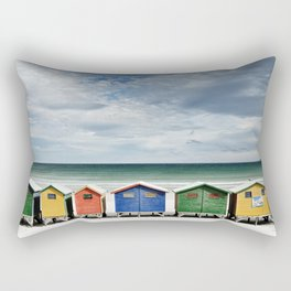 Beach Huts - Colorful houses and Sea, Cape Town, South Africa Rectangular Pillow