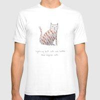 lightning bolt cats are better White MEDIUM Mens Fitted Tee