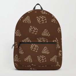 the pyramids and cubes on a brown background . artwork Backpack
