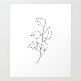 Dollar Eucalyptus — Minimal Botanical Line Drawing Art Print