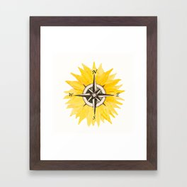 Compass  Sunflower Framed Art Print