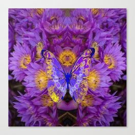 PURPLE WATER LILIES BUTTERFLY DESIGN Canvas Print
