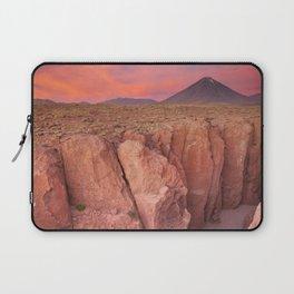 II - Narrow canyon and Volcan Licancabur, Atacama Desert, Chile at sunset Laptop Sleeve