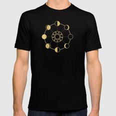 Gold Moon Phases Sun Stars Night Sky Navy Blue Mens Fitted Tee LARGE Black