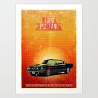 mustang Art Prints featuring Mustang by The83juice