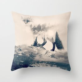Fox Mountain Walker Throw Pillow