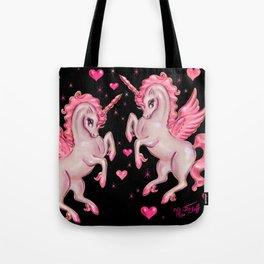Pink Unicorn Pegasus on Black Tote Bag