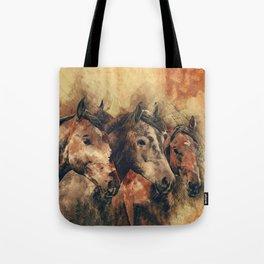 Galloping Wild Mustang Horses Tote Bag