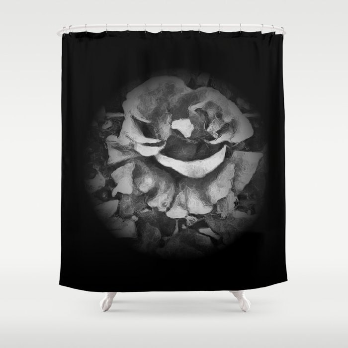 Black Rose - Painting Style - Black and White - Art Gift Shower Curtain