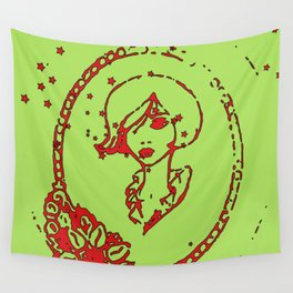 Starry Eyed Green Wall Tapestry