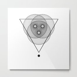 Mesh Triangle geometry white Metal Print