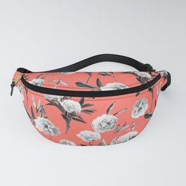 Peonies Mono Coral Fanny Pack