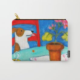 Jack Russel Terrier at table with geraniums Carry-All Pouch